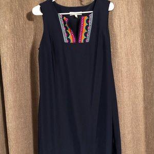 Navy Blue Patterned Dress